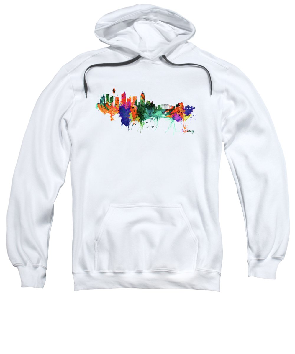 Sydney Sweatshirt featuring the painting Sydney Watercolor Skyline by Marian Voicu