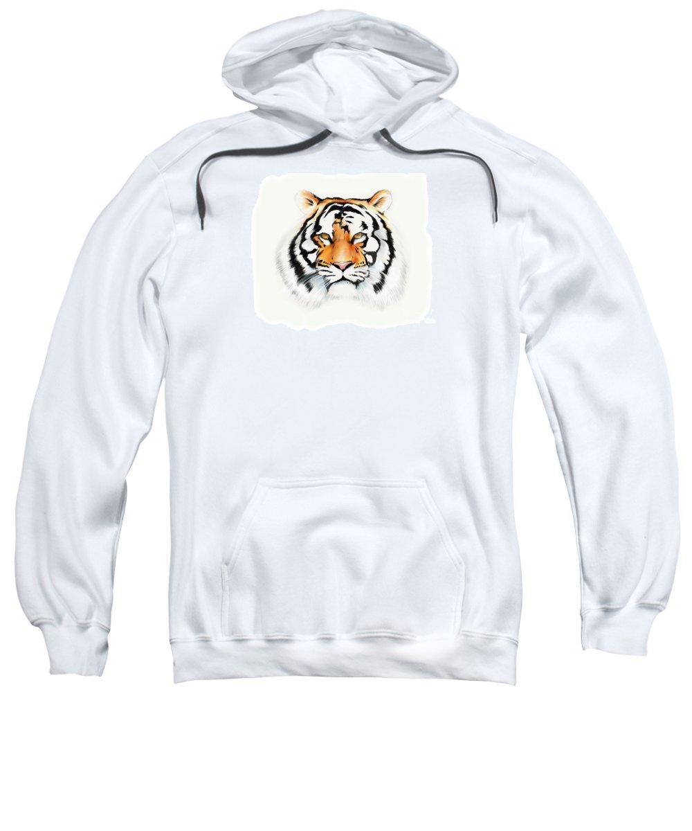 Tiger Cat Bigcat Stripes Ipadpro Ipad Paper53 Apple Pencil Sweatshirt featuring the drawing Tiger by Brian Gibbs