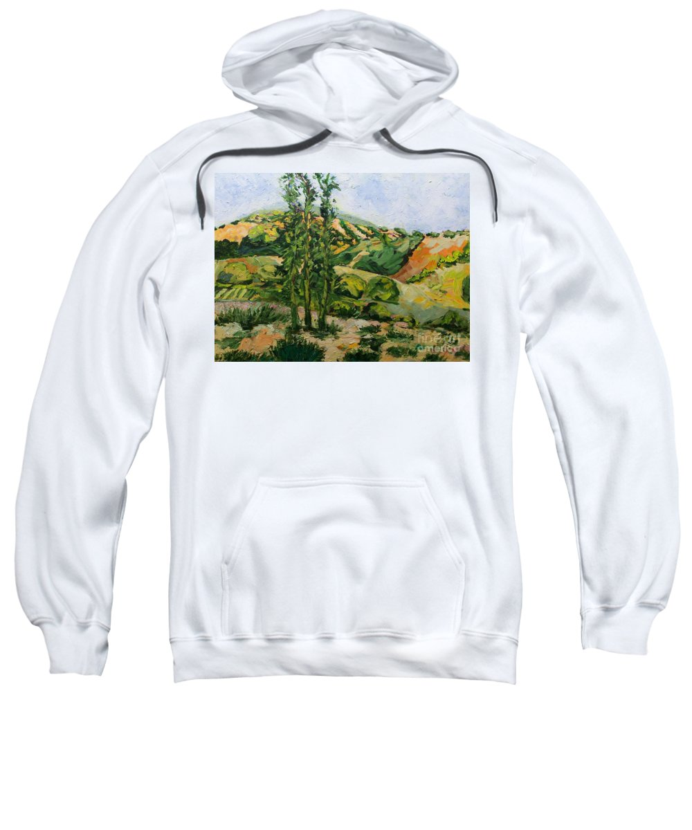 Landscape Sweatshirt featuring the painting Top of the Hill by Allan P Friedlander