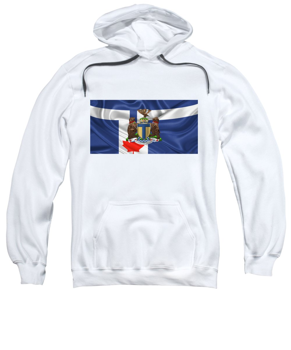 'cities Of The World' Collection By Serge Averbukh Sweatshirt featuring the photograph Toronto - Coat Of Arms Over City Of Toronto Flag by Serge Averbukh