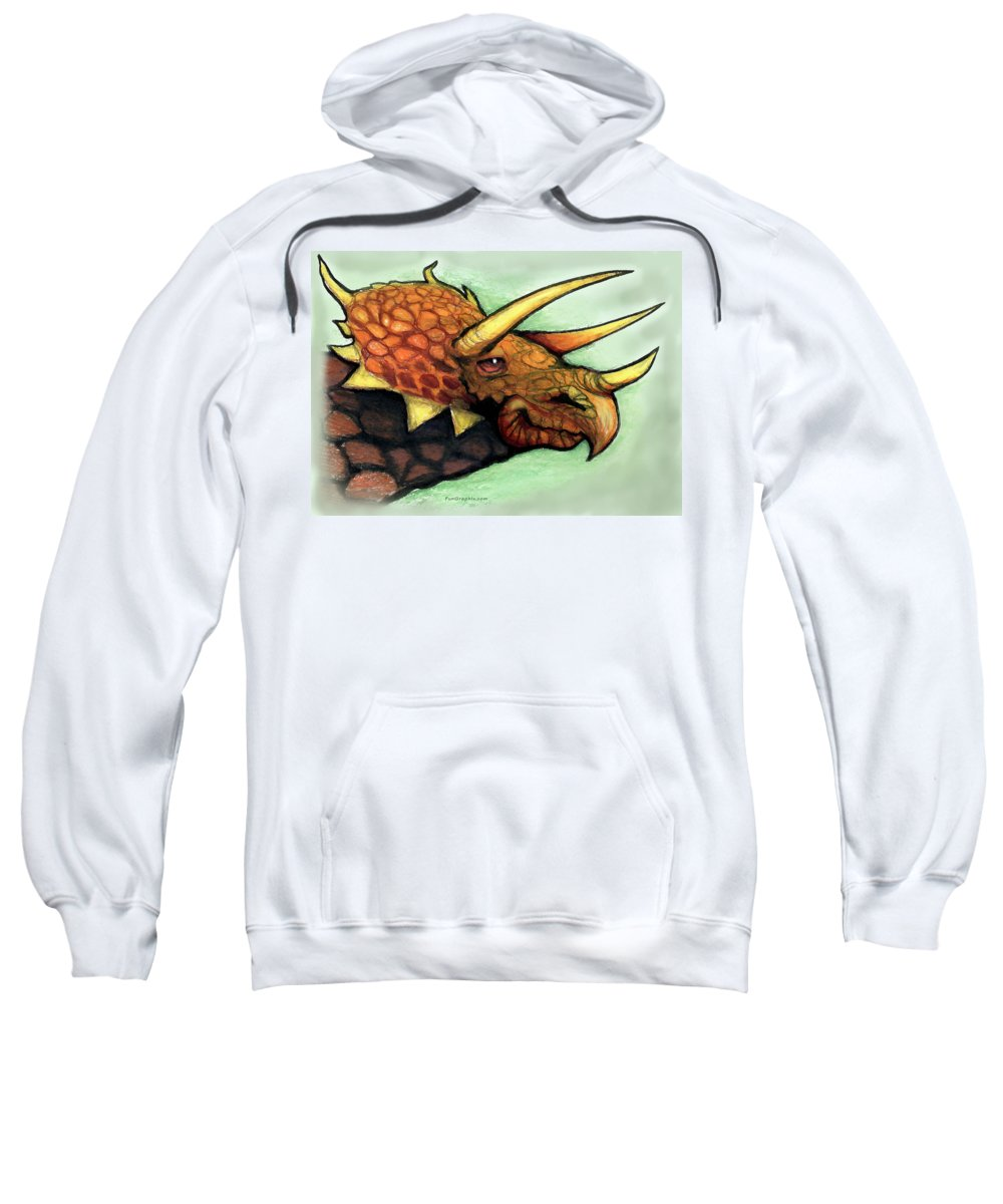 Triceratops Sweatshirt featuring the painting Triceratops by Kevin Middleton