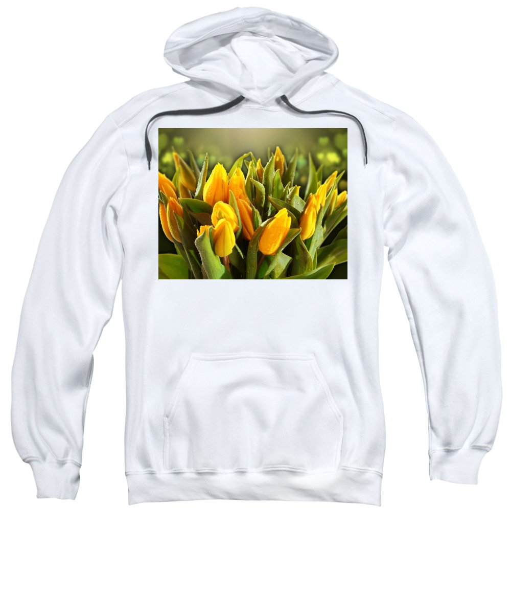 Tulip Sweatshirt featuring the digital art Tulip by Bert Mailer