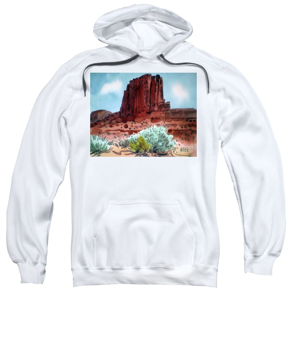 Elephants Butte Sweatshirt featuring the painting Two Elephants Butte by Donald Maier