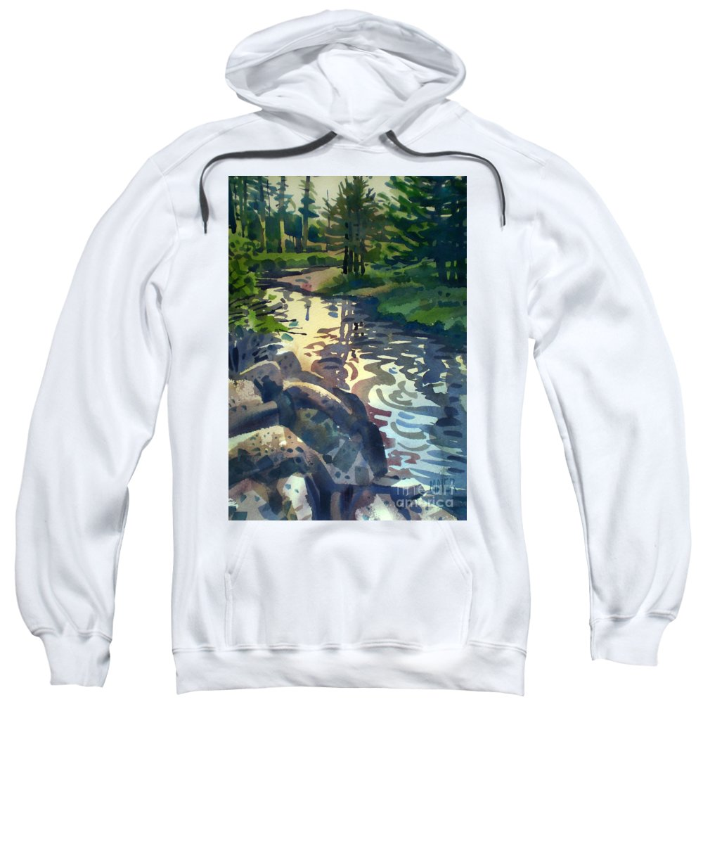 Stream Sweatshirt featuring the painting Up With The Fishes by Donald Maier