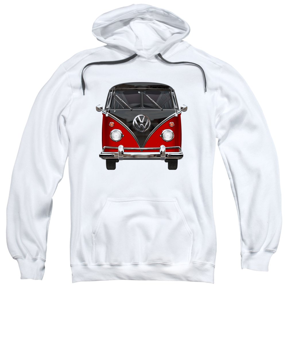 'volkswagen Type 2' Collection By Serge Averbukh Sweatshirt featuring the photograph Volkswagen Type 2 - Red And Black Volkswagen T 1 Samba Bus On White by Serge Averbukh