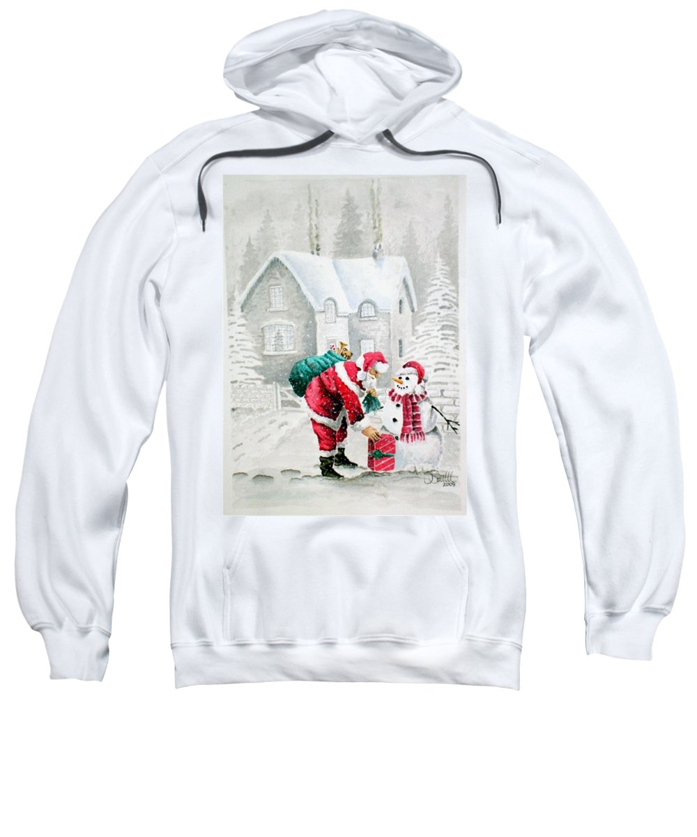 Christmas Sweatshirt featuring the painting White Christmas by Jimmy Smith