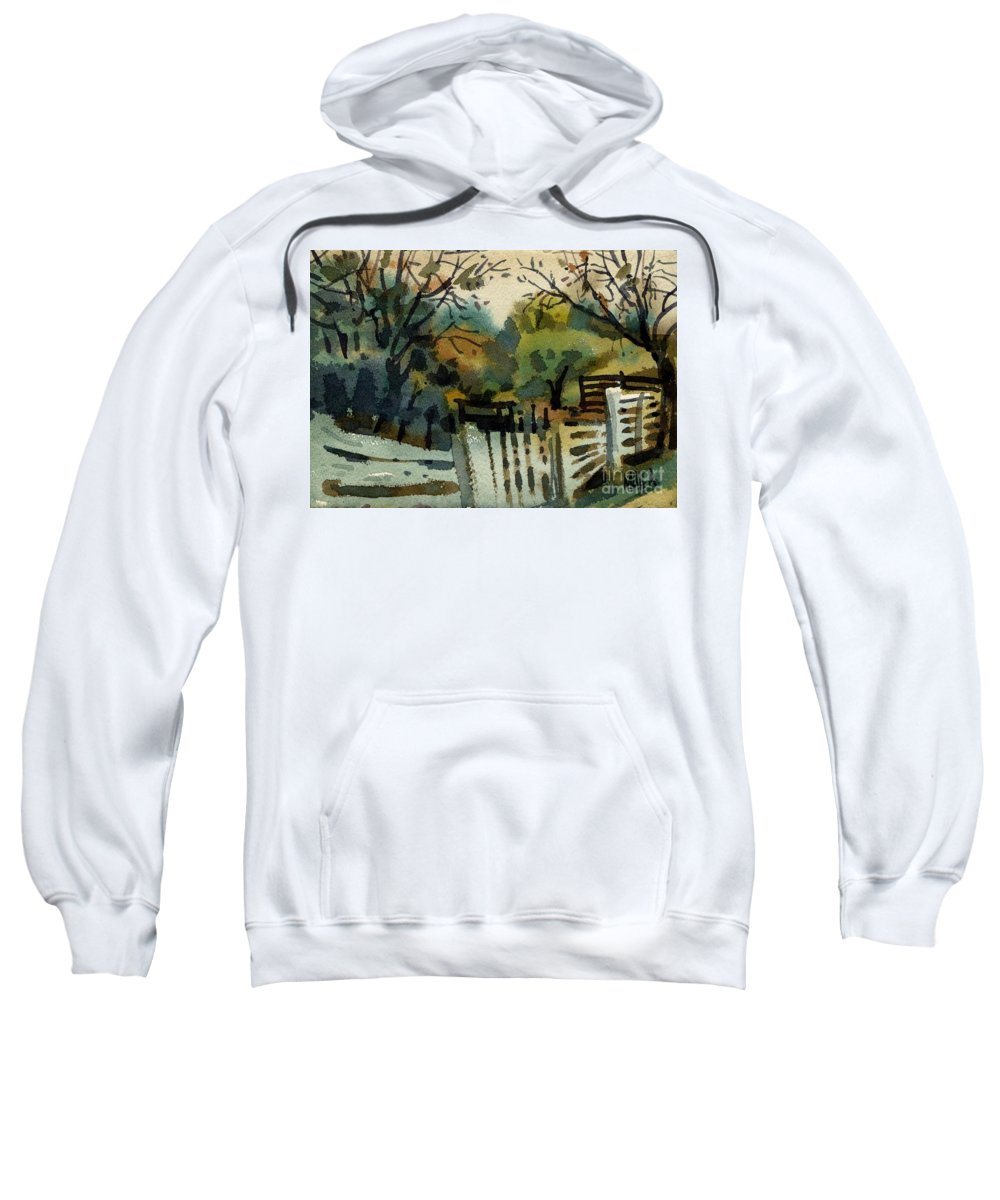 White Fence Sweatshirt featuring the painting White Fence by Donald Maier