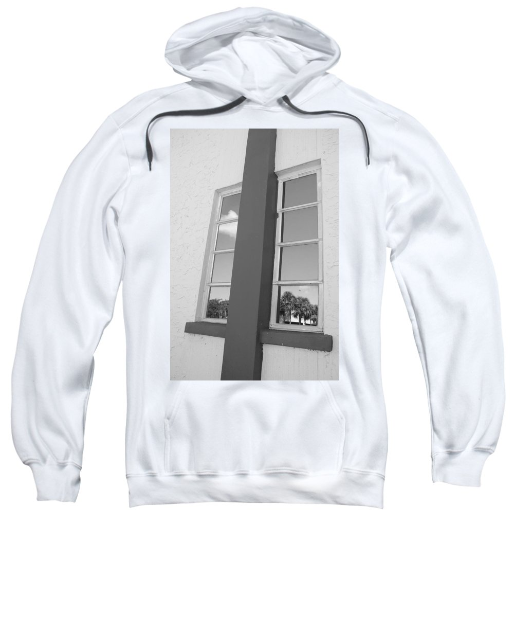 Black And White Sweatshirt featuring the photograph Window T Glass by Rob Hans