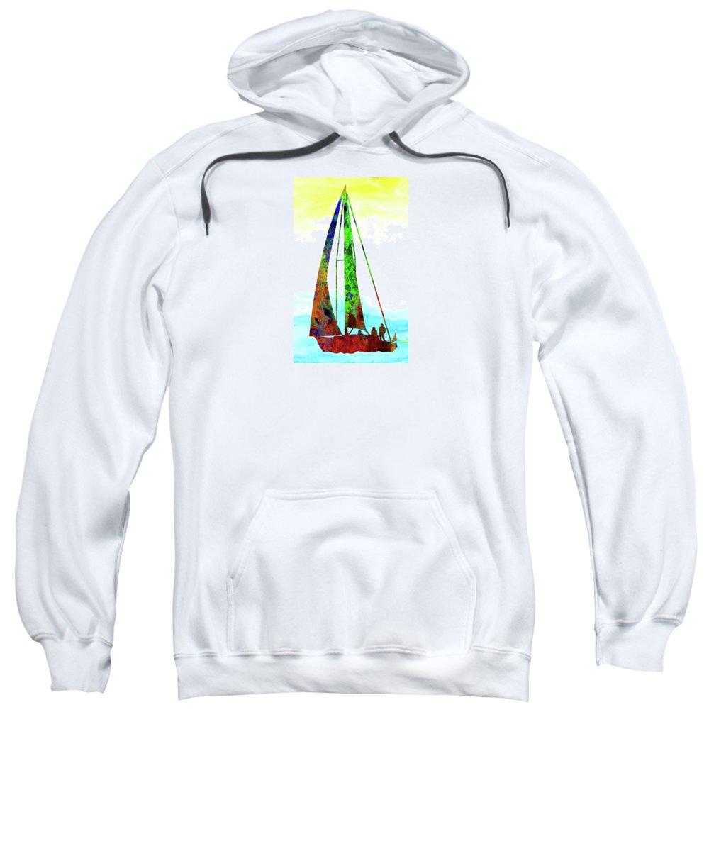 Sport Sweatshirt featuring the digital art Yachtsman by Elena Kosvincheva