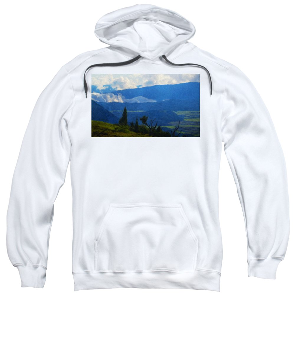 Landscape Sweatshirt featuring the painting Landscape On Nature by World Map