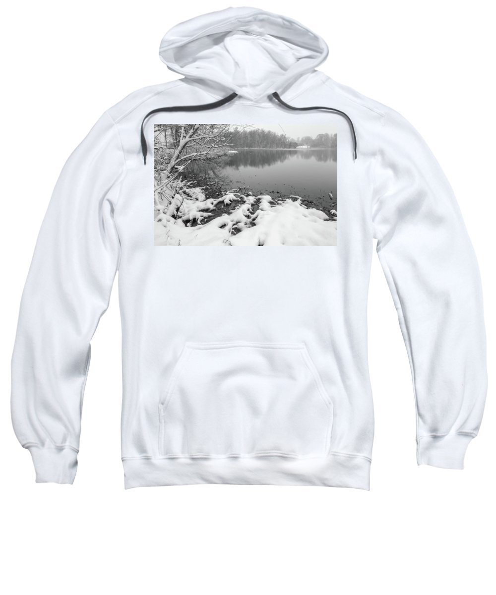 Tree Sweatshirt featuring the photograph Snow Covered Landscapes In Belmont North Carolina Along Catawba by Alex Grichenko