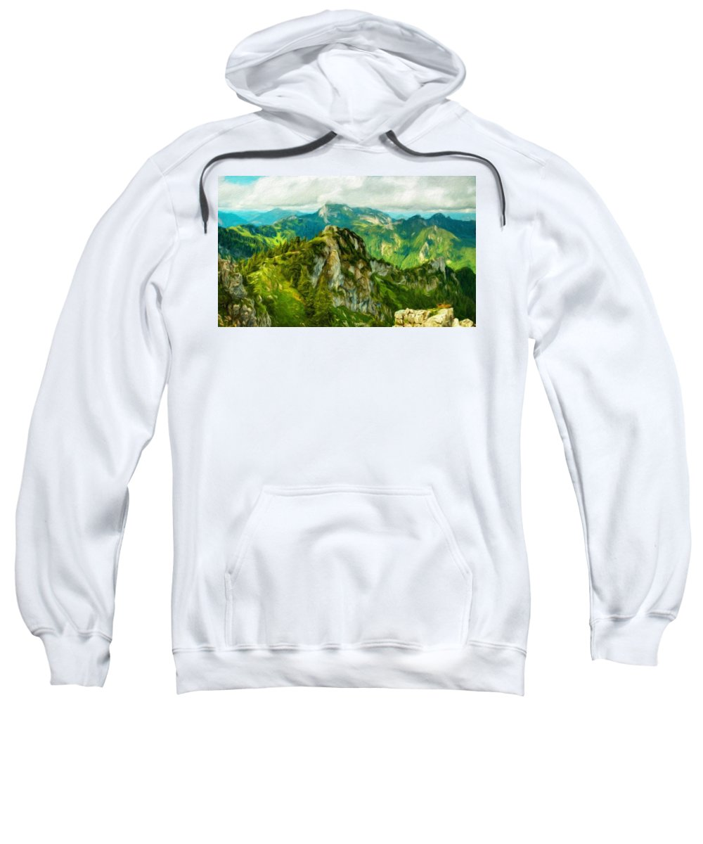 Landscape Sweatshirt featuring the painting A Landscape Nature by World Map