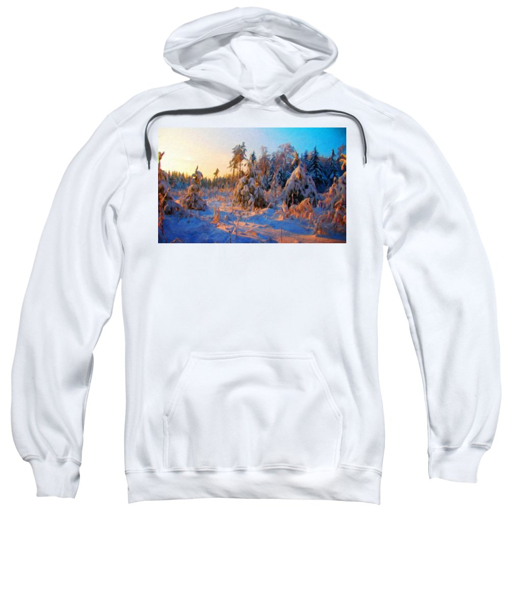 Landscape Sweatshirt featuring the painting Nature Scenery Oil Paintings On Canvas by World Map