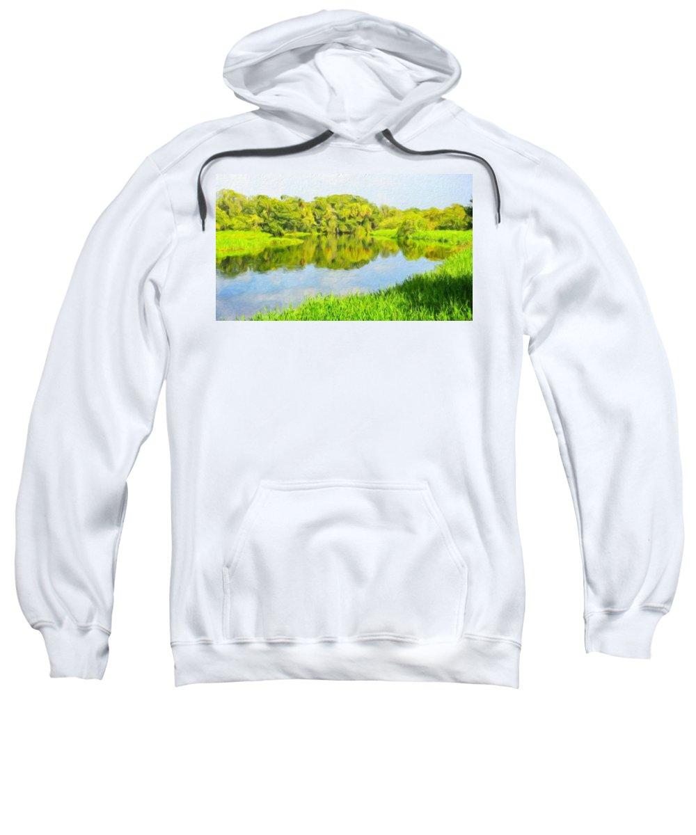 Landscape Sweatshirt featuring the painting Nature Landscape Illumination by World Map