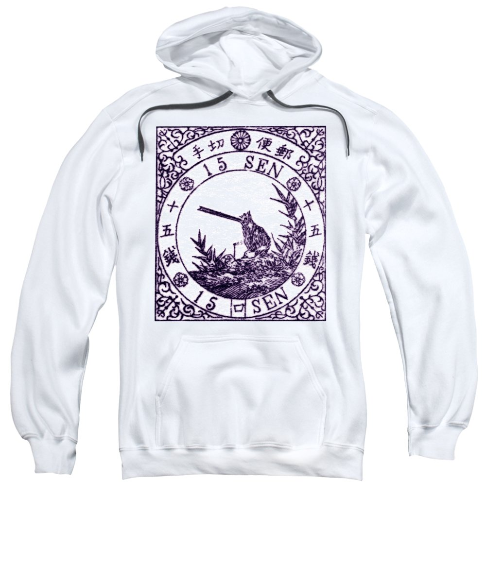 Japan Sweatshirt featuring the painting 1875 Japanese Wagtail Stamp by Historic Image