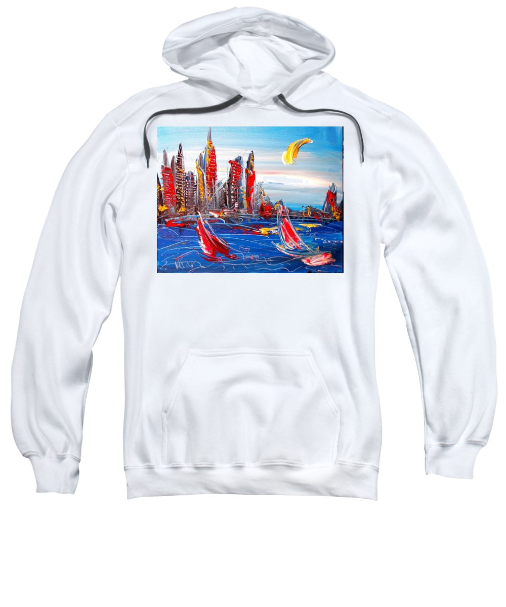 Amazing Framed Prints Sweatshirt featuring the painting City by Mark Kazav