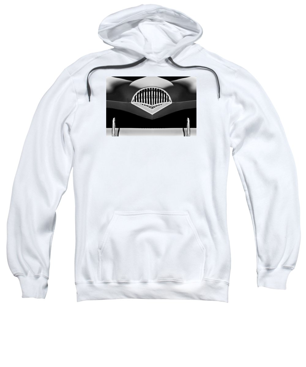 Transportation Sweatshirt featuring the photograph 1954 Kaiser Darrin Grille Black And White by Jill Reger