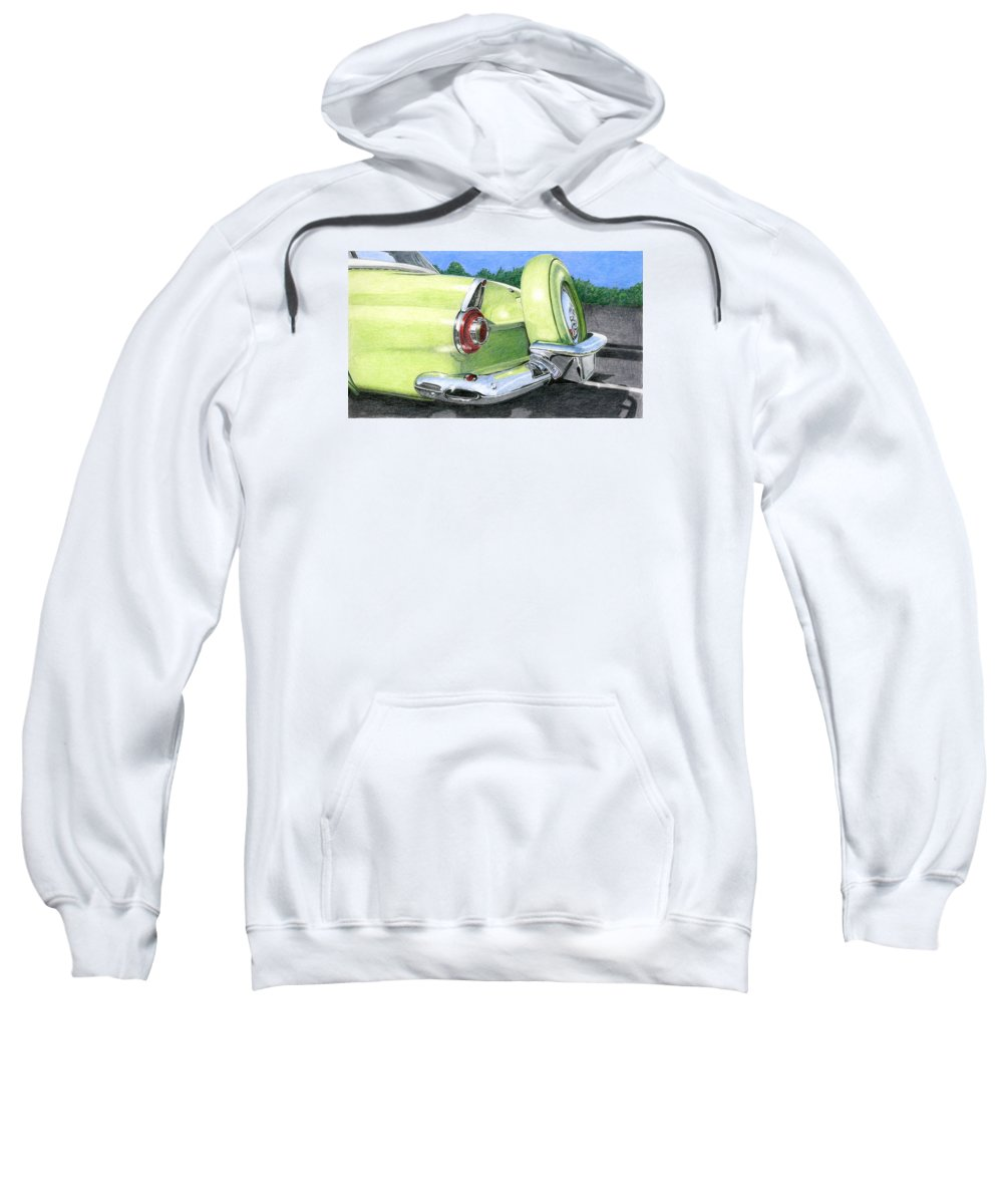 Classic Sweatshirt featuring the drawing 1956 Ford Thunderbird by Rob De Vries