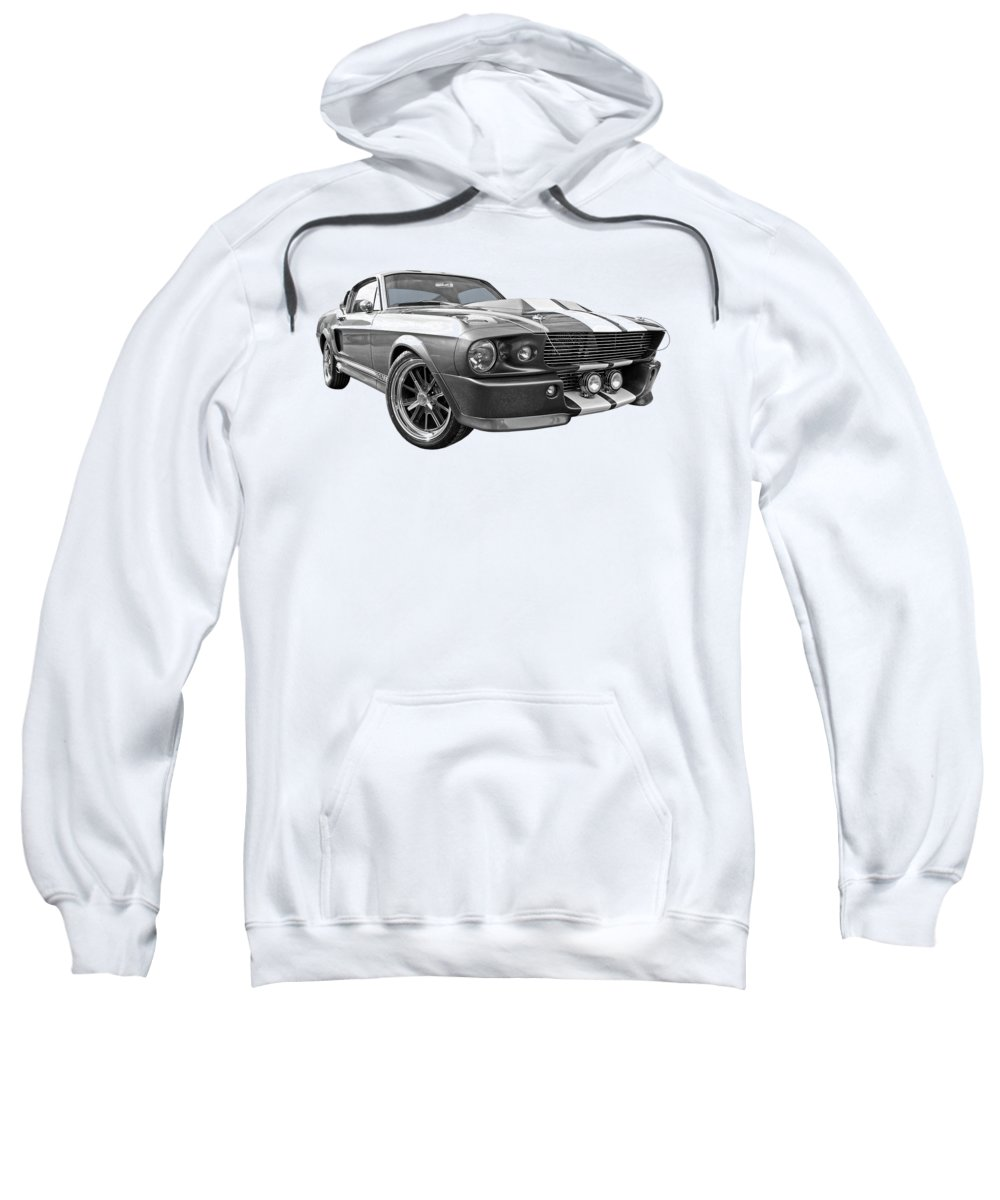 Ford Mustang Sweatshirt featuring the photograph 1967 Eleanor Mustang In Black And White 1967 by Gill Billington