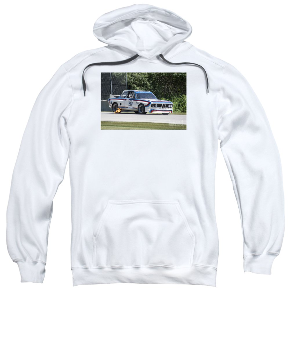 Automobile Sweatshirt featuring the photograph 1973 Bmw Csl At Road America by Tad Gage