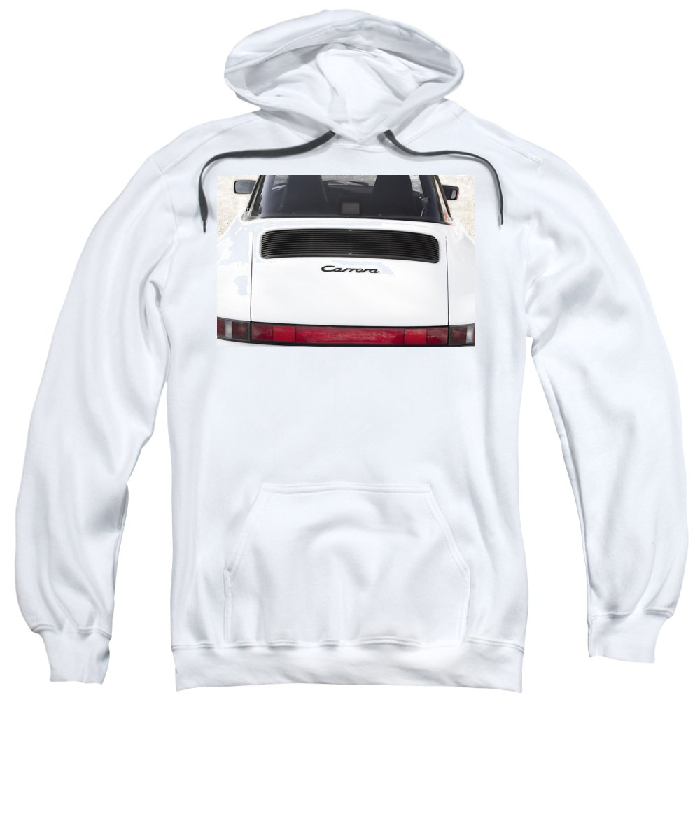 1987 Sweatshirt featuring the photograph 1987 White Porsche 911 Carrera Back by James BO Insogna