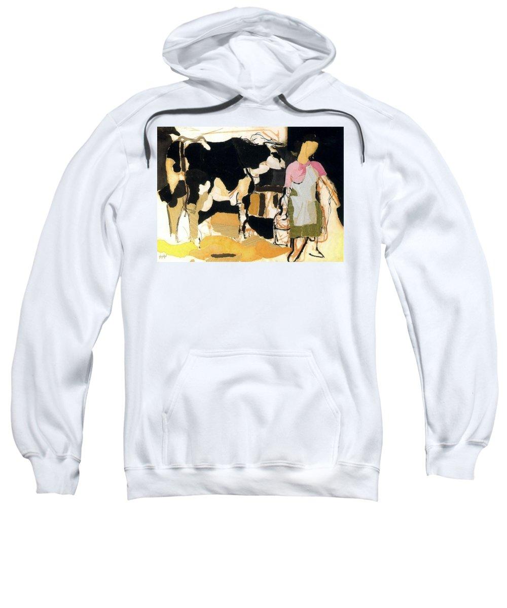 Grunge Sweatshirt featuring the digital art 19933 Manuel Ruiz Pipo by Eloisa Mannion