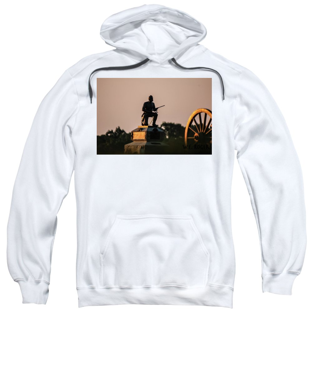 This Is A Photo Of The 1st Pennsylvania Cavalry Monument Sweatshirt featuring the photograph 1st Pennsylvania Cavalry by William Rogers