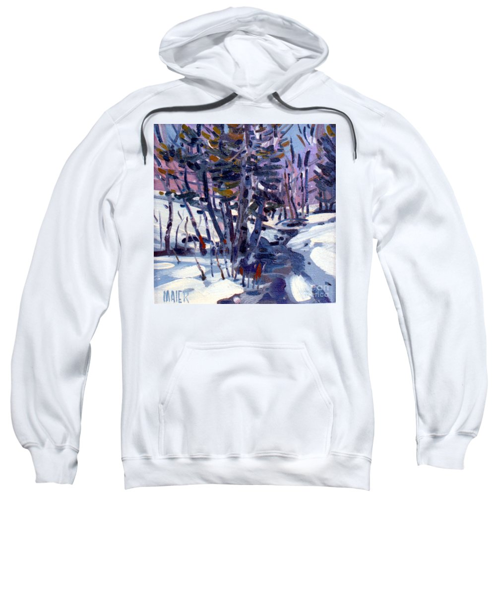 Plein Air Sweatshirt featuring the painting Aspen In The Snow by Donald Maier