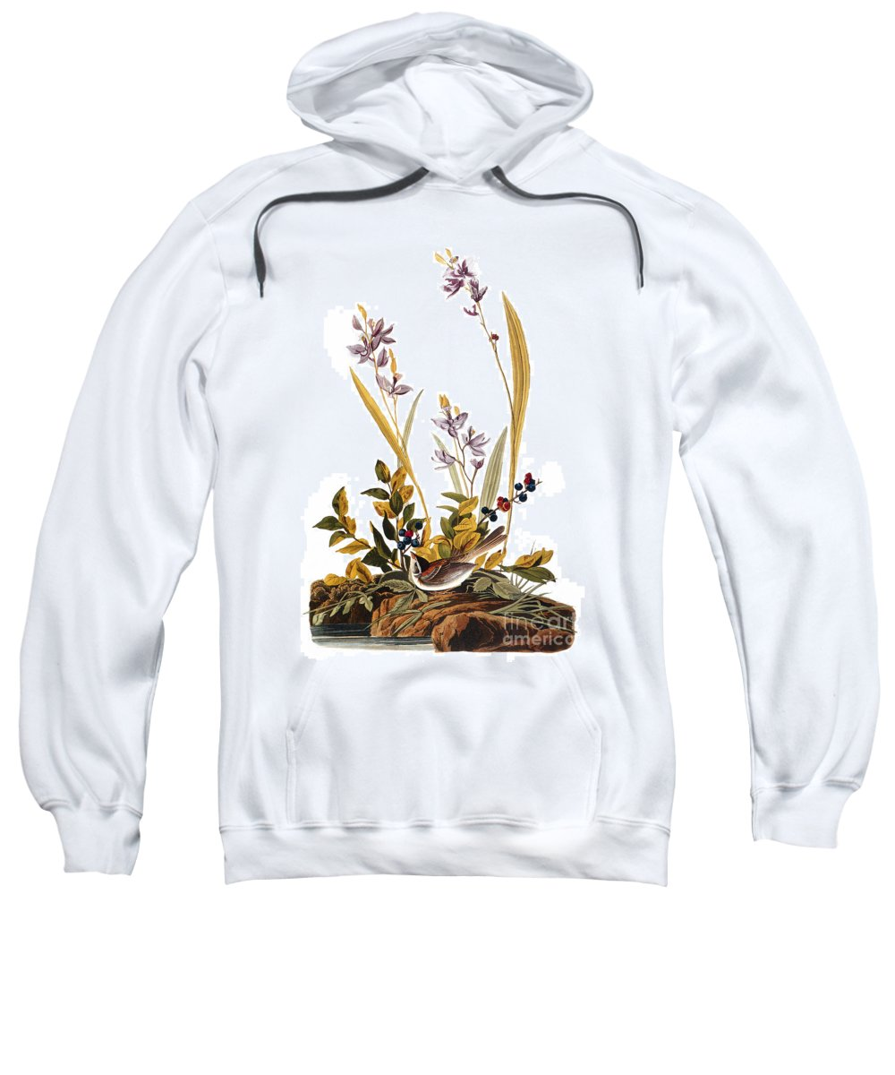 1827 Sweatshirt featuring the photograph Audubon: Sparrow, 1827-38 by Granger