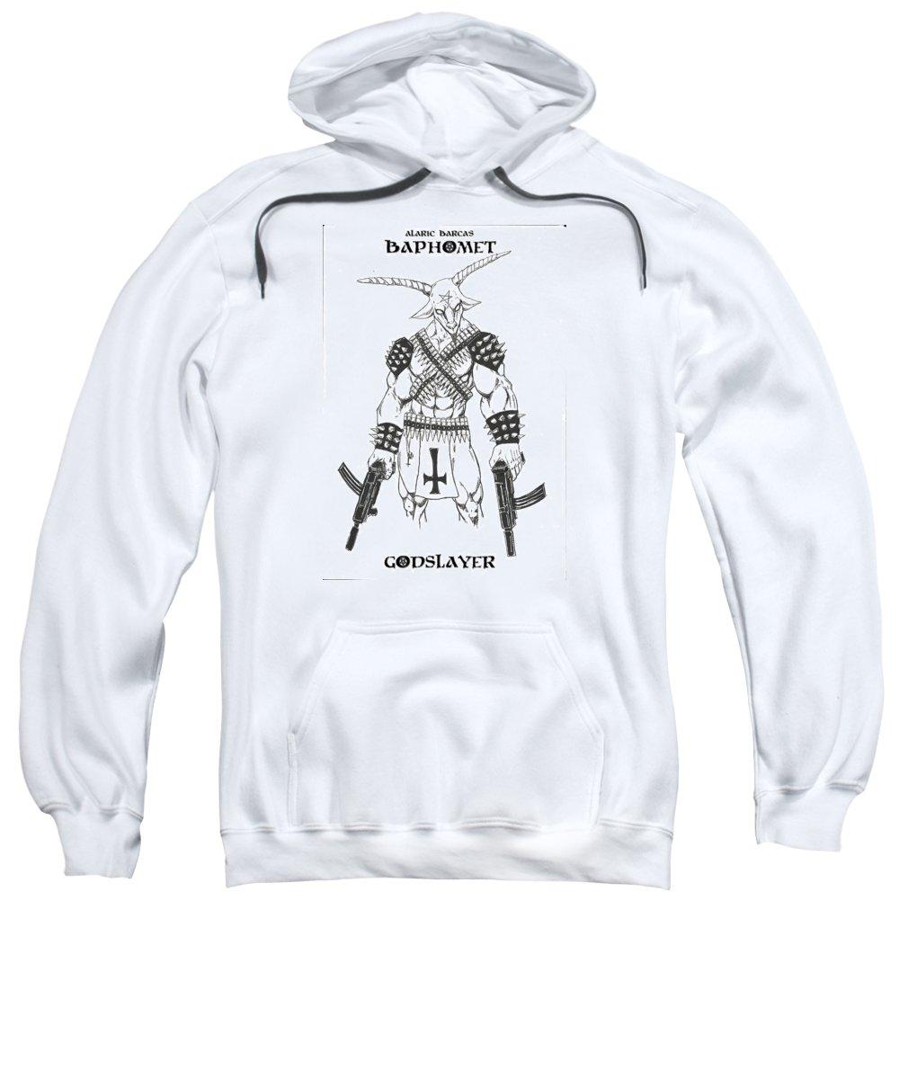 Baphomet Sweatshirt featuring the drawing Baphomet by Alaric Barca