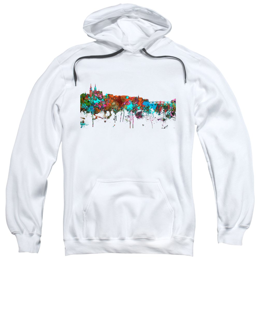 Basle Switzerland Skyline Sweatshirt featuring the digital art Basle Switzerland Skyline by Marlene Watson
