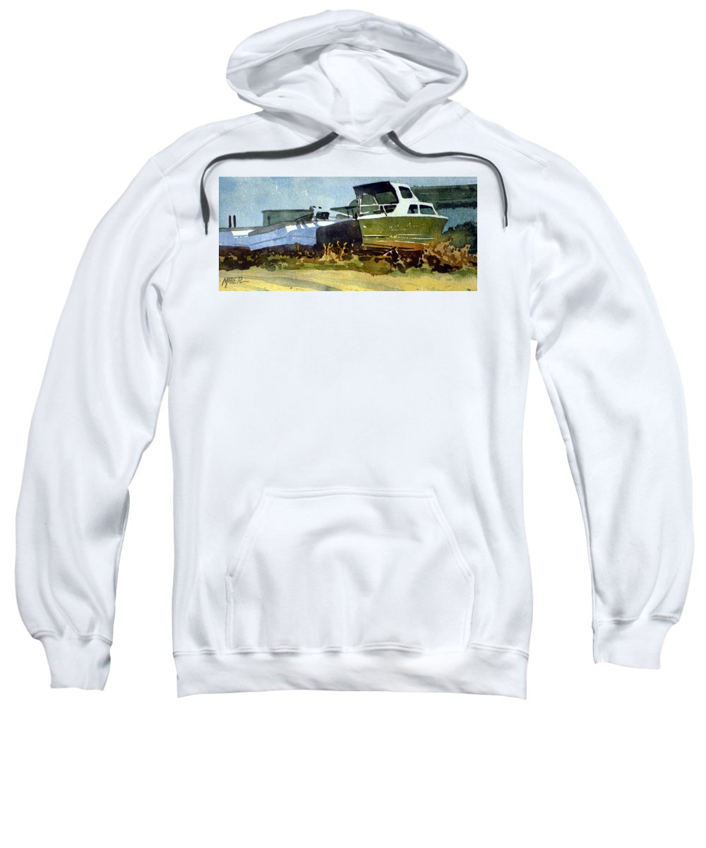 Watercolor Sweatshirt featuring the painting Belmar Boatyard by Donald Maier