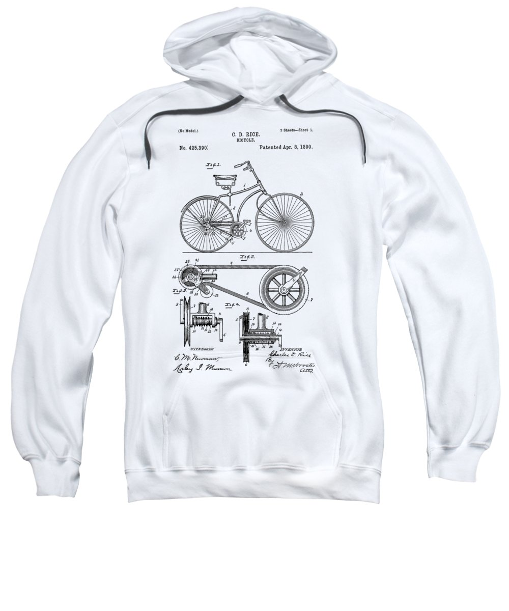 Bicycle Sweatshirt featuring the photograph Bicycle Patent From 1890 by Chris Smith