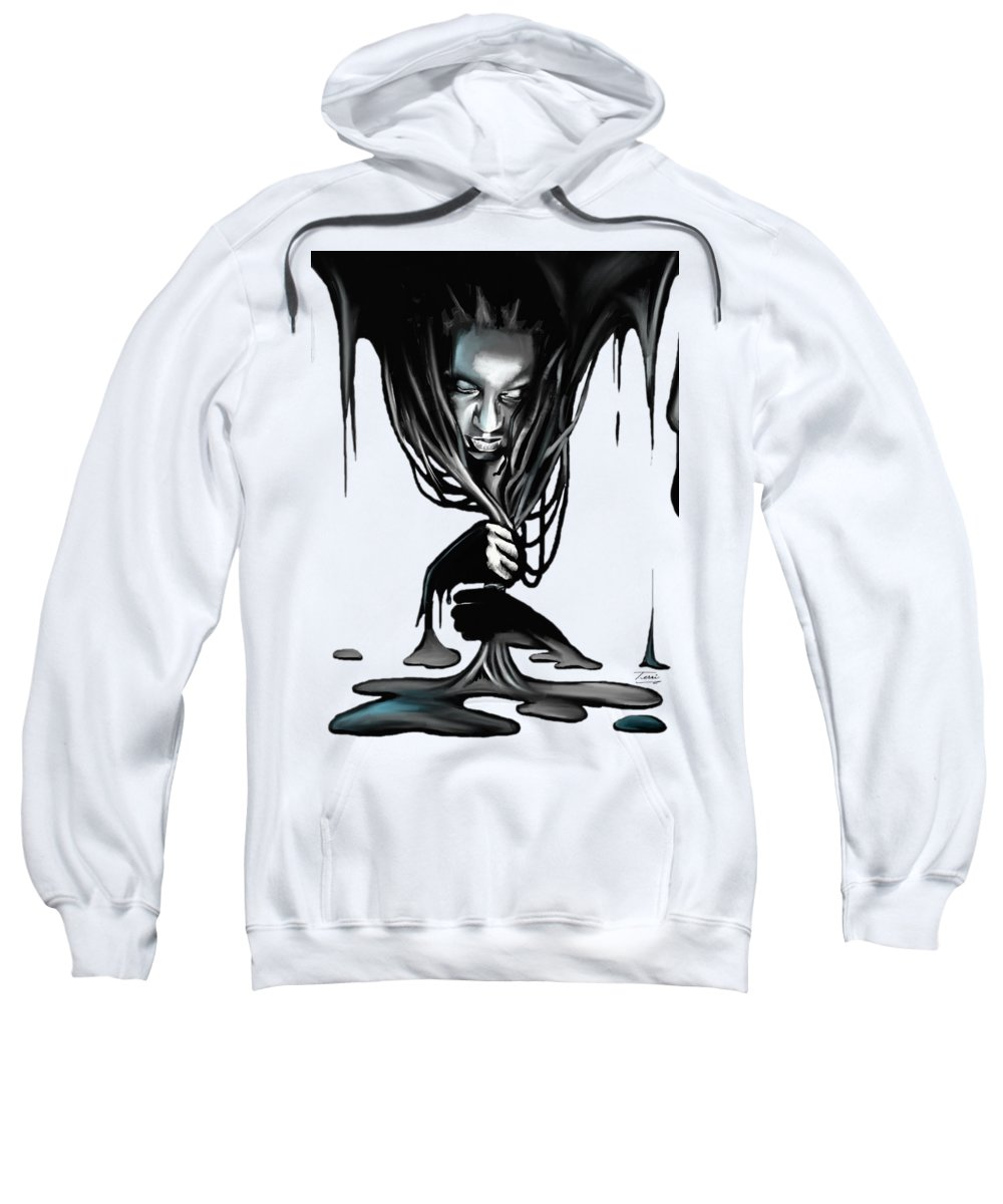 Woman Sweatshirt featuring the drawing Black. by Terri Meredith