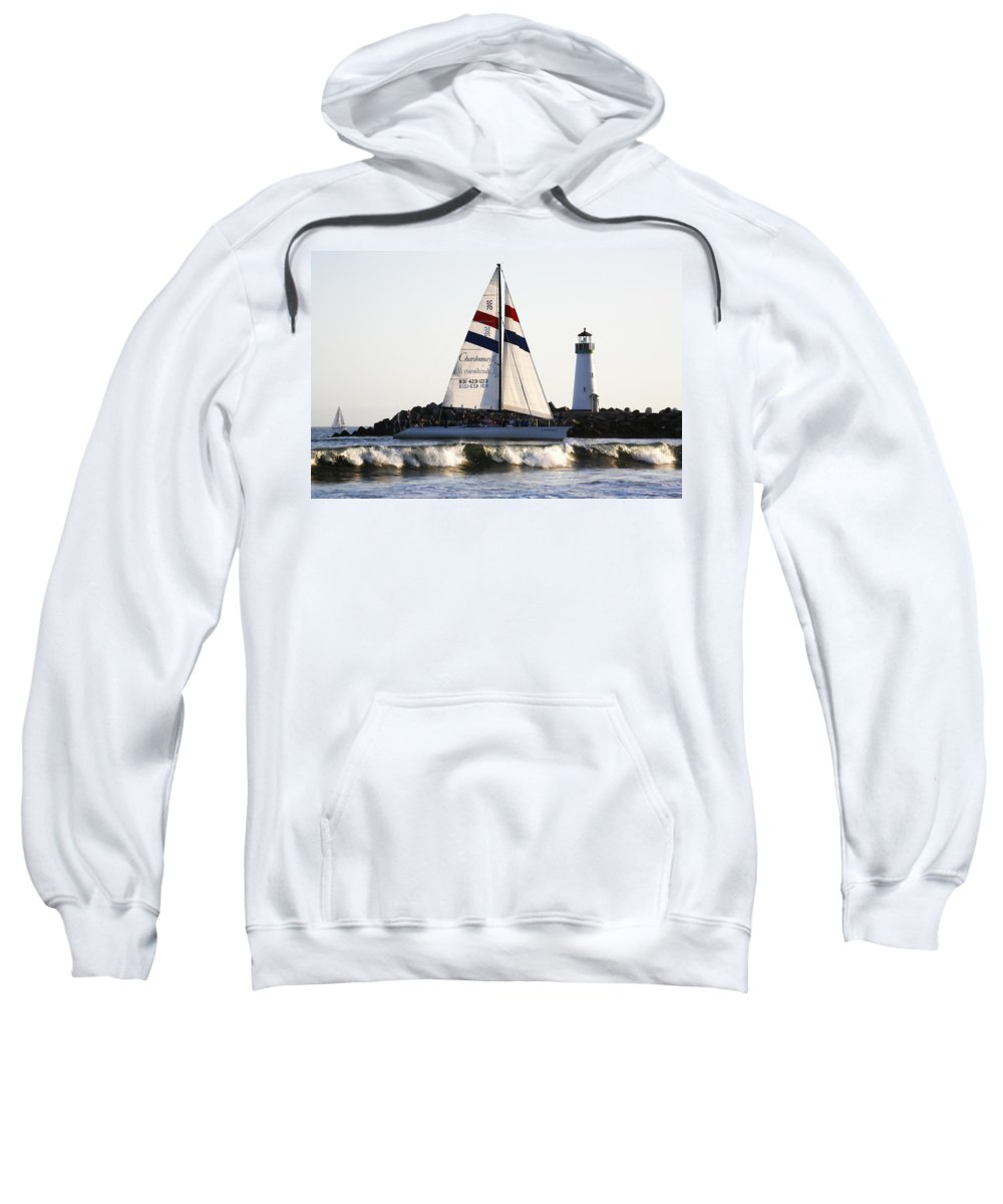 Santa Cruz Sweatshirt featuring the photograph 2 Boats Approach by Marilyn Hunt