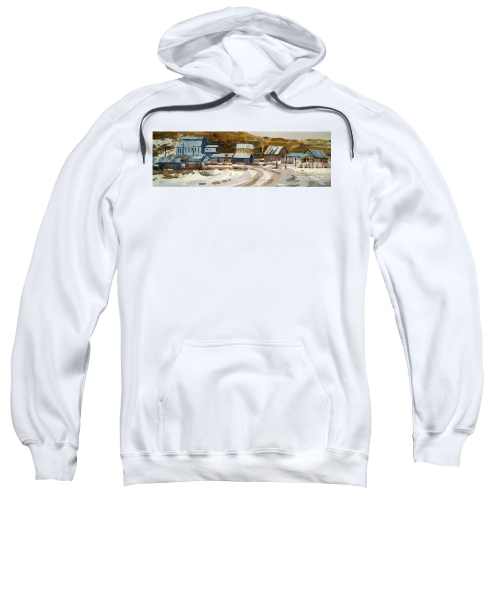 Ghost Town Sweatshirt featuring the painting Bodie California 1979 by Donald Maier