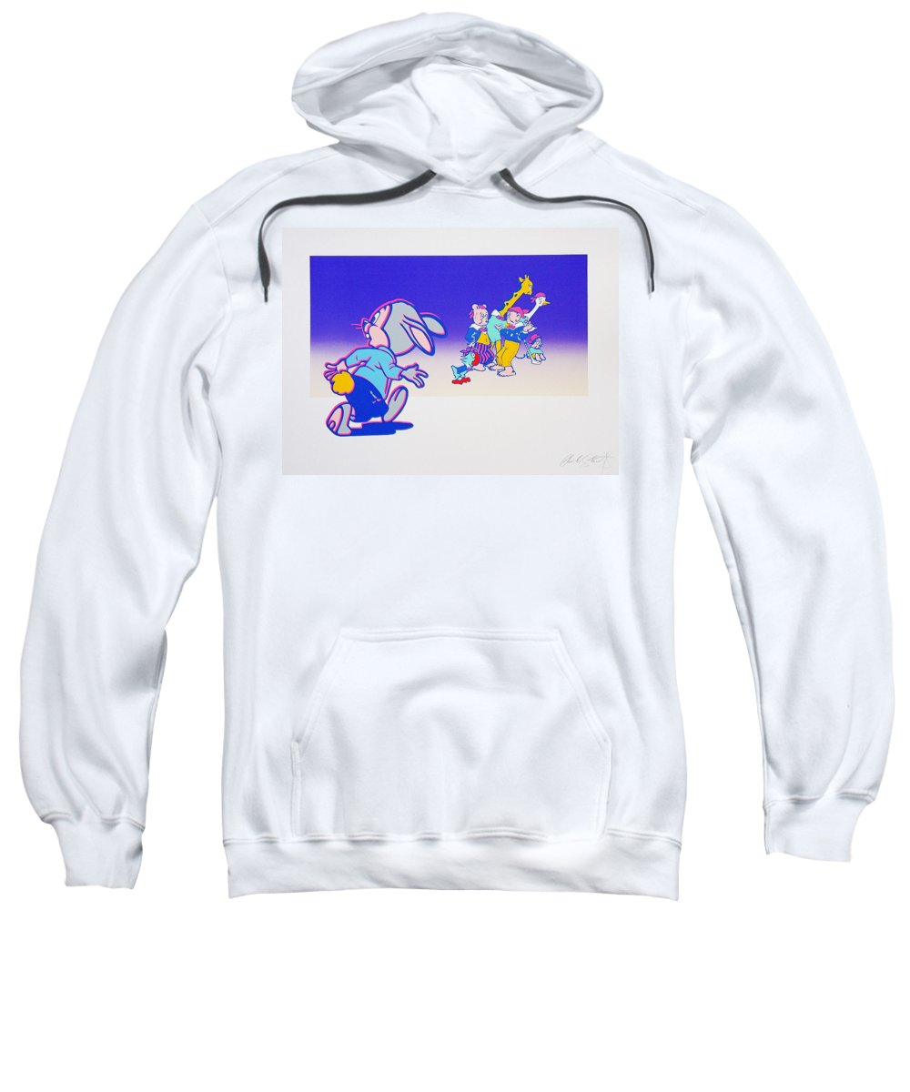 Woodstock Sweatshirt featuring the mixed media By The Time I Got To Woodstock by Charles Stuart