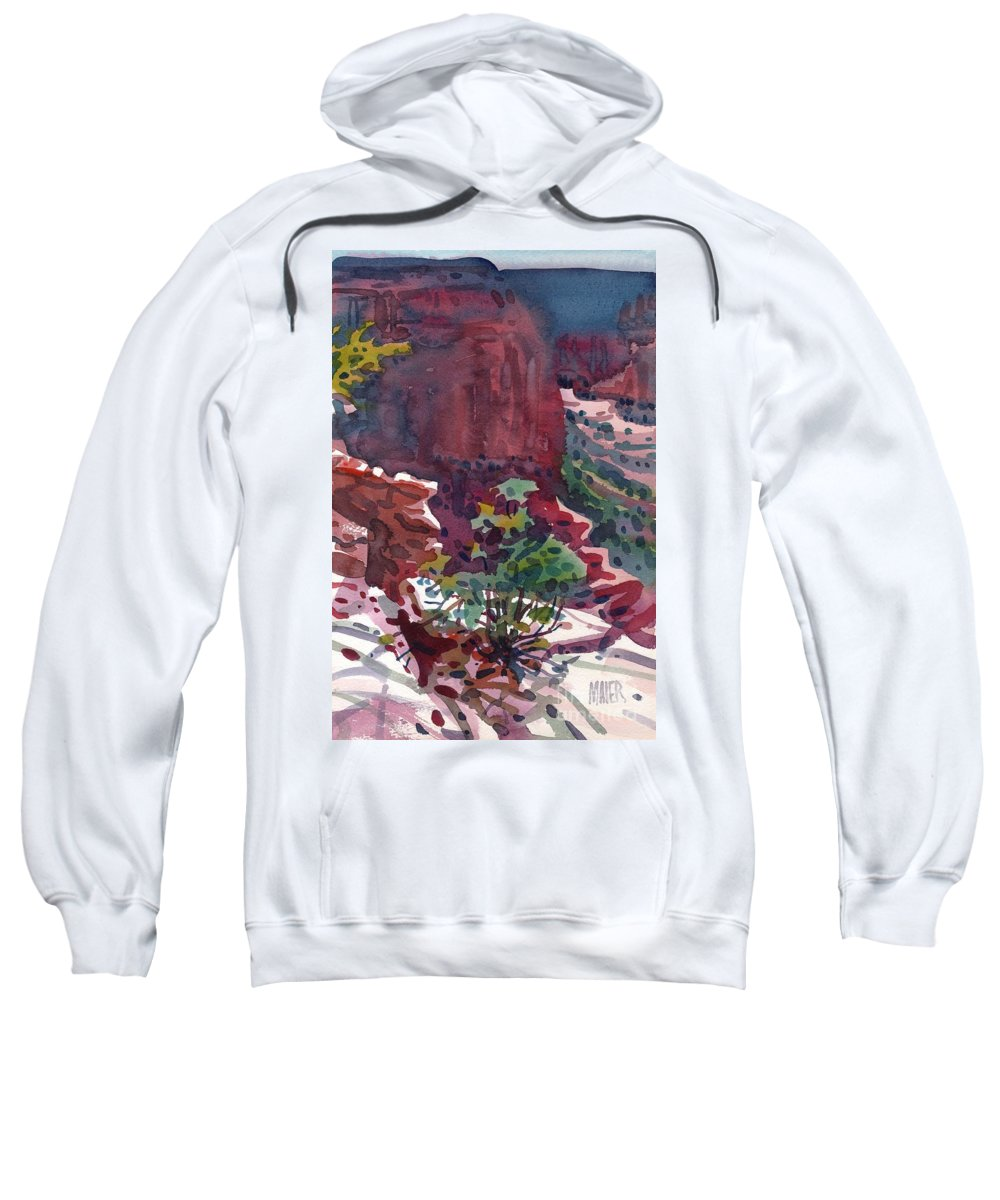 Canyon De Chelly Sweatshirt featuring the painting Canyon View by Donald Maier