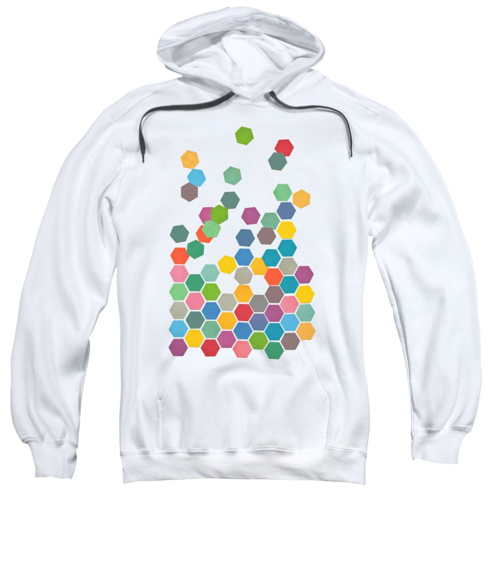 Shapes Sweatshirt featuring the mixed media Falling Down by Cassia Beck