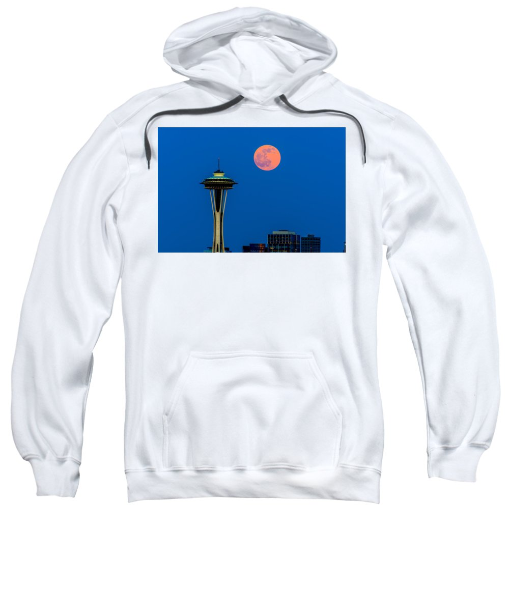 Full Moon Sweatshirt featuring the photograph Full Moon With Space Needle by Hisao Mogi