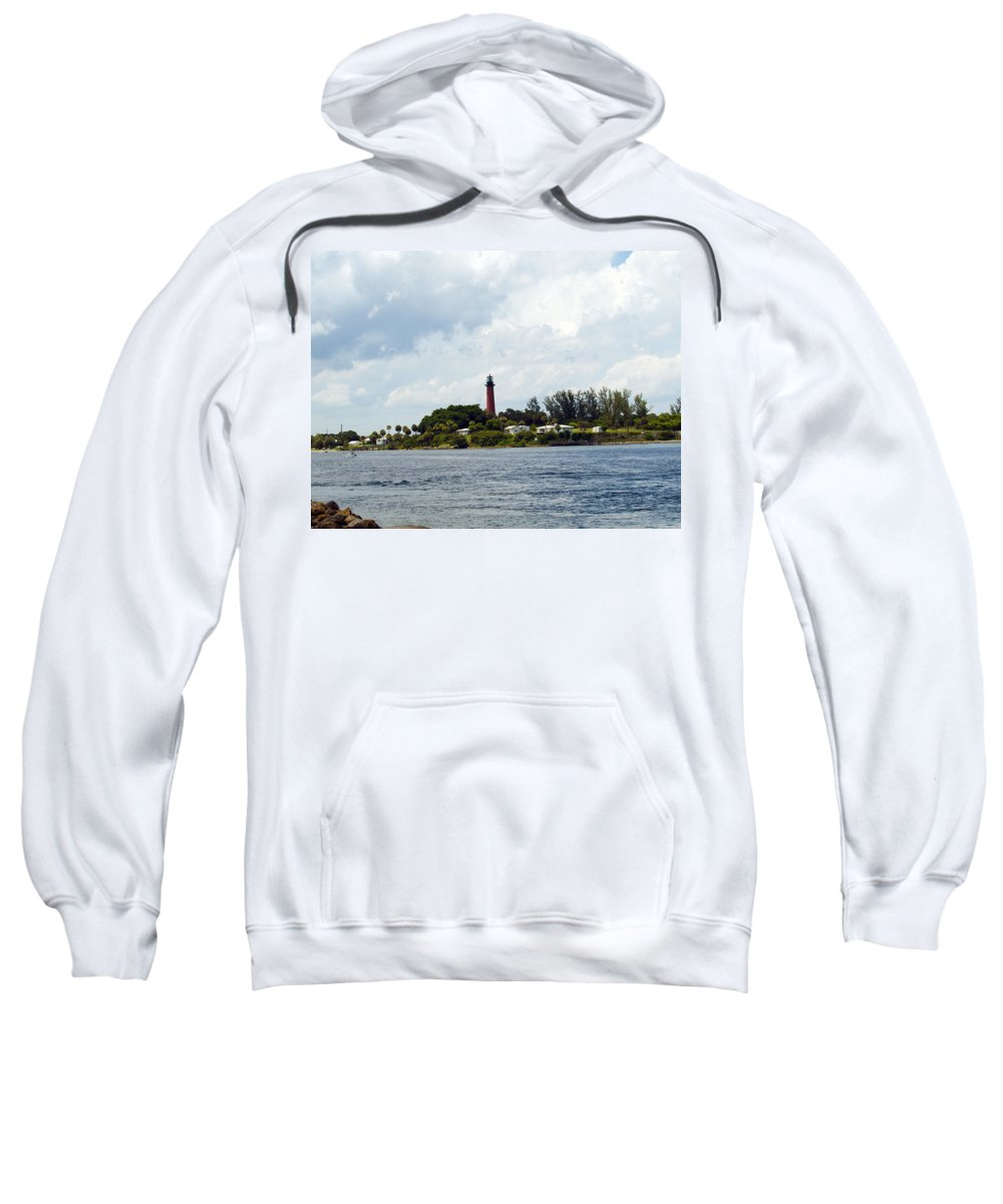 Florida; Juptier; Inlet; Loxahatchee; River; Atlantic; Coast; Shore; Beach; Light; Lighthouse; Beaco Sweatshirt featuring the photograph Jupiter Florida by Allan Hughes