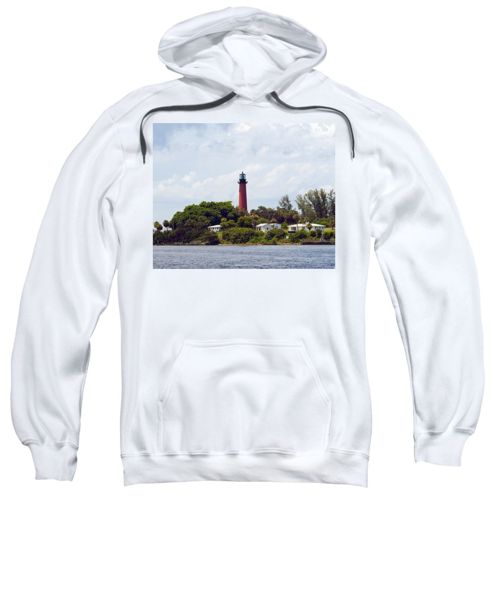 Florida; Juptier; Inlet; Loxahatchee; River; Atlantic; Coast; Shore; Beach; Light; Lighthouse; Beaco Sweatshirt featuring the photograph Jupiter Inlet Florida by Allan Hughes