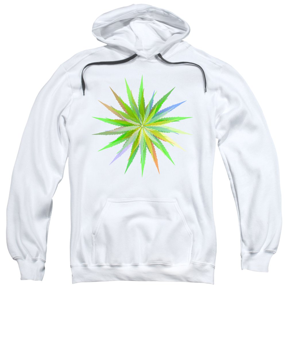 Marihuana Sweatshirt featuring the digital art Leaves Of Grass by Michal Boubin