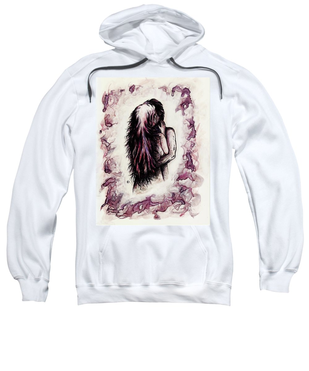 Figure Sweatshirt featuring the drawing Lovers by William Russell Nowicki