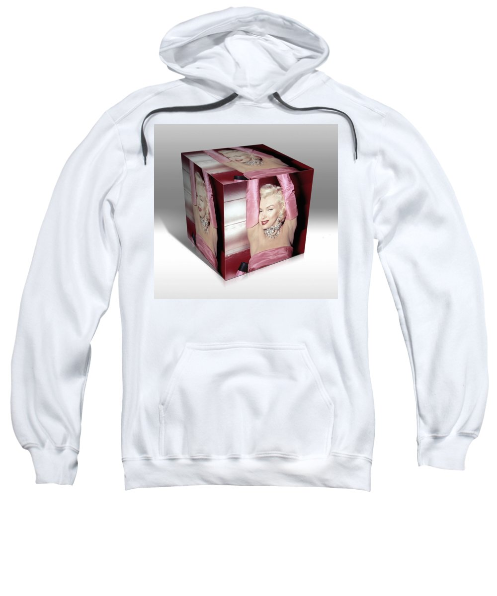 Marilyn Monroe Sweatshirt featuring the mixed media Marilyn Monroe Diamonds Are A Girls Best Friend by Marvin Blaine