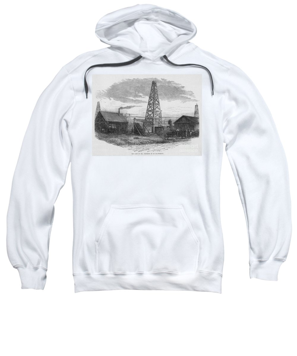 1875 Sweatshirt featuring the photograph Oil Well, 19th Century by Granger