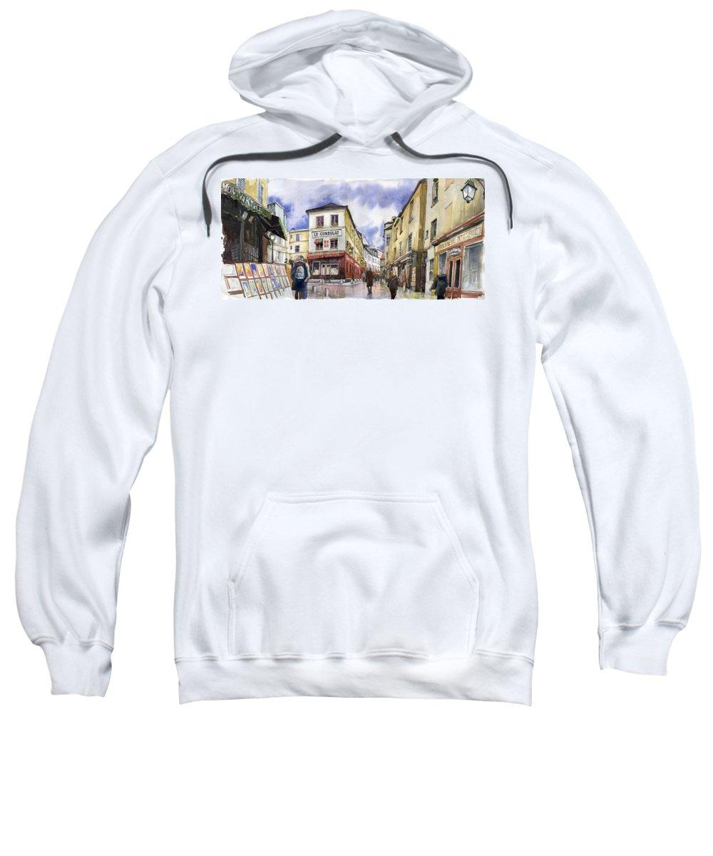 Watercolour Sweatshirt featuring the painting Paris Montmartre by Yuriy Shevchuk