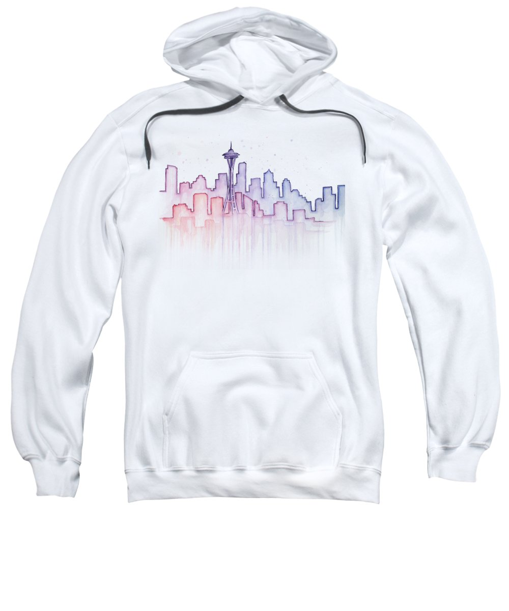 Watercolor Sweatshirt featuring the painting Seattle Skyline Watercolor by Olga Shvartsur