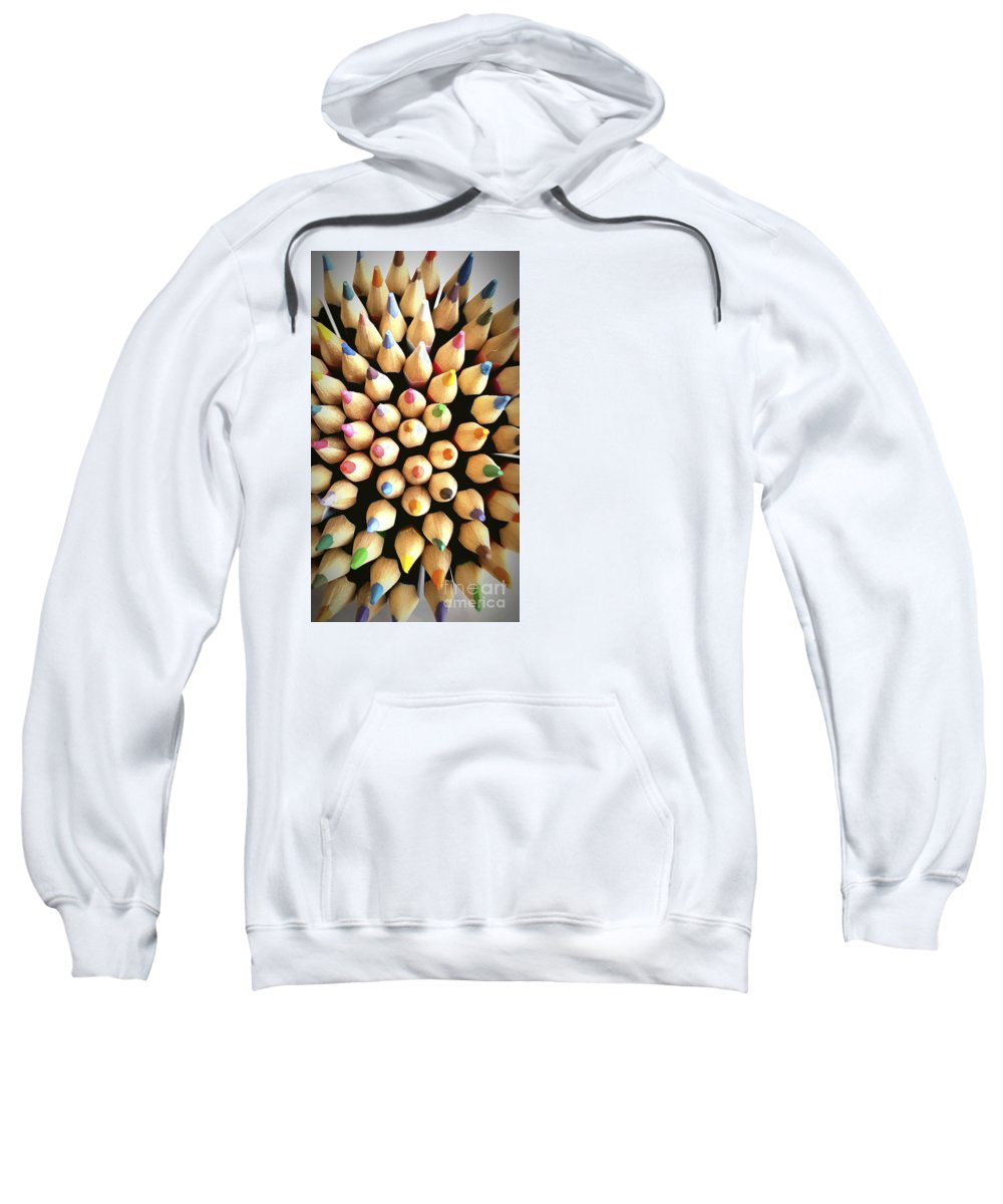 Colored Sweatshirt featuring the photograph Stack Of Colored Pencils by Bernard Jaubert