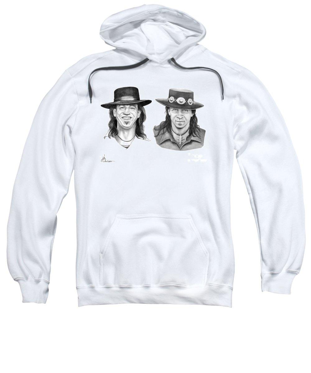 Drawing Sweatshirt featuring the drawing Stevie Ray Vaughn by Murphy Elliott